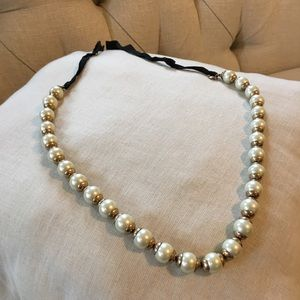 J.Crew faux Pearl Ribbon Necklace